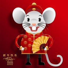 Chinese new year 2020 year of the rat , red and gold paper cut rat character,flower and asian elements with craft style on background. (Chinese translation : Happy chinese new year year of rat) , Chinese New Year Design, Chinese New Year 2020, Happy Chinese New Year, Chinese New Year Background, New Years Background, Chinese New Year Decorations, New Years Decorations, New Year Doodle, China