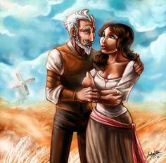Dulcinea y don Quijote.