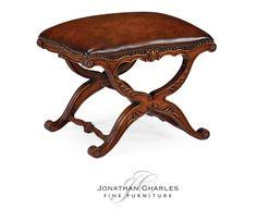 Neo-classical X-frame Stool #hpmkt #jcfurniture #jonathancharles #Furniture #InteriorDesign #Windsor