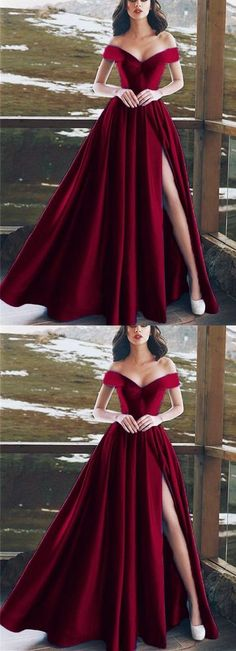 Burgundy Satin V-neck Long Prom Dresses Leg Split Evening Gowns, Shop plus-sized prom dresses for curvy figures and plus-size party dresses. Ball gowns for prom in plus sizes and short plus-sized prom dresses for Grad Dresses, Cheap Prom Dresses, Homecoming Dresses, Red Dress Prom, Split Prom Dresses, Long Dress Party, Long Dress For Prom, Purple Prom Dresses, Sleeved Prom Dress