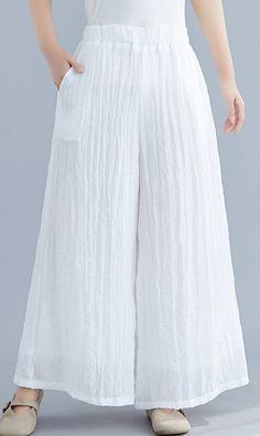 Summer new cotton and linen white wide leg pants loose yoga Chinese tr – SooLinen Kurta Designs Women, Blouse Designs, Nude Trousers, Trousers Women, Designer Wear, Designer Dresses, White Wide Leg Pants, Fashion Pants, Fashion Dresses