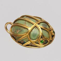 Pendant, 1891–1902 Marcus & Company (American, 1892–ca. 1962) New York Arizona turquoise, demantoid garnets, gold