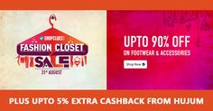 Upto 90% Off on Footwear & Accessories Plus Upto 5% Extra Cashback from Hujum #ShopcluesCoupons #ShopcluesCashback #Footwear #Accessories