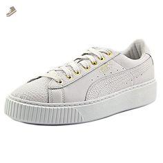 PUMA Women's Basket Platform Pearlized WN'S Fashion Sneaker, Puma White-Puma Team Gold, 8.5 M US - Puma sneakers for women (*Amazon Partner-Link)