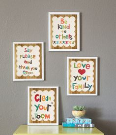 Good Manners Set of 4 8x10 Childrens Art Prints by ChildrenInspire, $80.00