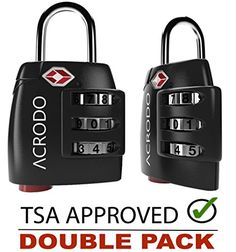 Acrodo TSA Approved All Metal International Travel Luggage Lock 2 Pack with Search Alert Pop Up Indicator and Padlock Combination for Suitcase and Baggage * Continue to the product at the image link.