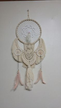 Macrame Dreamcatcher(35X75cm): 3 ring (D:28cmX1 & 8cmX2), crochet doily, 3mm braided cotton rope and 4.5mm twisted cotton rope, dyed feathers. Designed & made by H.S.Kim, Sep. 26, 2017.