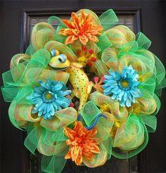 Spring Wreath Door Decor Lizard Gecko Summer Floral Wall Deco Mesh Luxe Cute | eBay