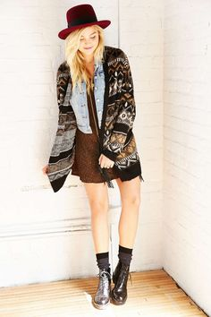 Ecote Geometric Tile Cardigan - Urban Outfitters