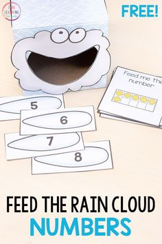 Feed the rain cloud numbers for a fun spring math activity! Perfect for spring math centers in preschool or kindergarten. Numbers Preschool, Learning Numbers, Preschool Themes, Preschool Math, April Preschool, Preschool Projects, Science Classroom, Math Activities For Toddlers, Number Activities