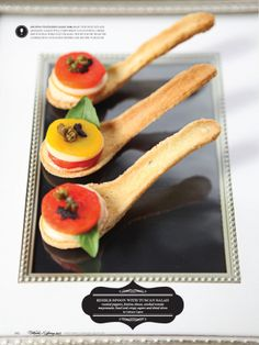 edible spoon w tuscan inspired salad..adorable to serve at one of our weddings in italy