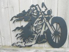 Ghost Rider motorcycle biker metal wall by dirtynelliemetalwork, $52.99