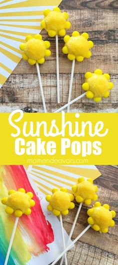 """Sunshine Cake Pops - Brighten someone's day with these cute homemade cake pops! Perfect for a """"You are My Sunshine"""" party, summer parties, a get-well gift, teacher appreciation gift, Mother's Day treat, etc."""
