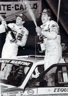 Henri Toivonen and Sergio Cresto celebrate victory in Monaco harbour