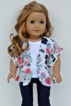 American Girl Doll Clothes Pink Navy and Mint Floral Print Kimono 18 inch by CircleCSewing