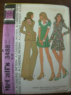 Jacket skirt pants 1970s pattern three piece suit bust by ultravox, $7.50