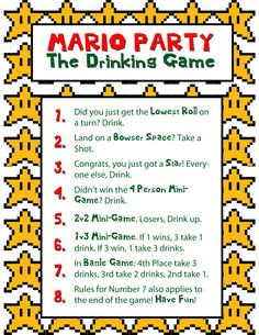 Mario Party drinking game Bryant Bachler j.m Bachler can we do… Mario Party drinking game Bryant Bachler j.m Bachler can we do…,:-) Mario Party drinking game Bryant Bachler Drinking Games For Parties, Adult Party Games, Adult Games, Abc Games, Mario Party, Game Party, Party Drinks, Fun Drinks, Cocktails
