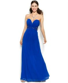 Xscape Embellished Illusion Lace Strapless Gown