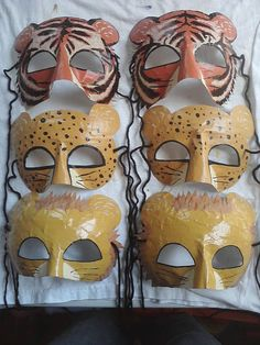 safari party masks Lions Tigers and Cheetahs by HighMoonCreations, $4.00