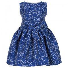 Torres Girls Sleeveless Blue Circle Jaquard Print Dress | AlexandAlexa