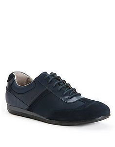 A sleek and modern casual sneaker with mixed layered materials by Calvin Klein. Featuring a nylon; suede and leather upper with a rounded toe; lace-up vamp and logo-debossed sides. More Details Suede Sneakers, Casual Sneakers, Calvin Klein, Lace Up, Toe, Modern, Leather, Fashion, Casual Trainers