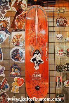 Strip n'Shop Skateboard Decor, Pinstripe Art, Pinstriping Designs, Rat Fink, Lowbrow Art, Lost Art, Deck Design, Old Skool, Custom Paint