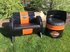 My steel barrel furniture project. It is not as difficult as it looks to do! Use a grinder with a cutting disc to cut out. I use rust oleum paint and get decals from a local company!