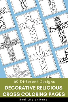 Set of 30 Cross coloring pages in this fun & intricate printable coloring book for kids & adults that's perfect for Easter, Sunday School, and Easter Egg Coloring Pages, Abstract Coloring Pages, Coloring Sheets For Kids, Flower Coloring Pages, Mandala Coloring Pages, Christmas Coloring Pages, Coloring Book Pages, Cross Coloring Page, Paisley Color