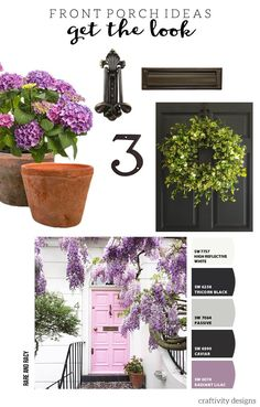 Pink Front Door Ideas - Get the Look Patio Wall Decor, Outdoor Wall Art, Outdoor Walls, Diy Porch, Diy Patio, Exterior Paint Colors For House, Exterior Colors, Small Porches, Front Porches