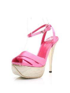 Nightclub Korean Satin Collision Color High-heeled Sandals