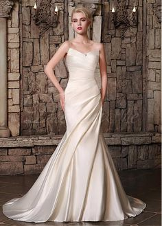 Marvelous Satin V-neck Neckline Mermaid Wedding Dresses with Rhinestones US 4