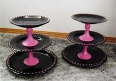 cupcake stands - Google Search Homemade Cupcake Stands, Cake And Cupcake Stand, Cupcake Display, Cupcake Holders, Cupcake Tier, Crafts To Do, Arts And Crafts, Festa Hot Wheels, Diys