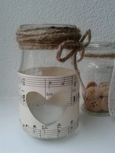 Maison jar recycled with music sheet. Leuk als theelicht houder. Birthday Gifts, Recycling, Jar, College, Music, Home Decor, Birthday Presents, Musica, University
