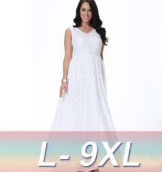>> Click to Buy << New Designer summer dress women lace V neck bridemaid dress sleeveless sexy white dress L-9XL #Affiliate