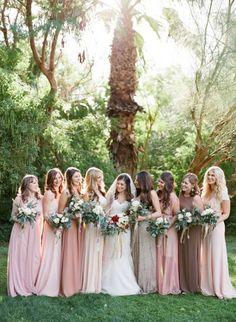 Muted blush and coral tones: http://www.stylemepretty.com/arizona-weddings/phoenix/2015/05/21/rustic-elegant-wedding-at-the-secret-garden/ | Photography: Brittany Mahood - http://www.brittanymahood.com/