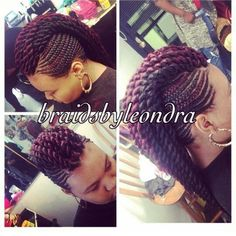 Box braids in braided bun Tied to the front of the head, the braids form a voluminous chignon perfect for an evening look. Box braids in side hair Placed on the shoulder… Continue Reading → Braided Mohawk Hairstyles, Mohawk Braid, African Braids Hairstyles, Twist Braids, Girl Hairstyles, Fishtail Plaits, Braid Crown, Wedding Hairstyles, Children Hairstyles