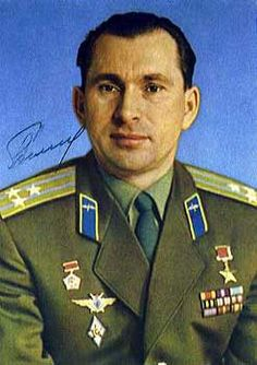 """Pavel I. Belyayev  On March 18, 1965, he made history when as comander of Voskhod 2, his co-pilot Cosmonaut Aleksey Leonov while in orbit, stepped from the vehicle and performed mankind's first """"walk in space""""."""