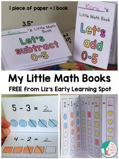 My Free Little Math Books – Liz's Early Learning Spot - Handprint Kindergarten Math Addition, Addition And Subtraction, Kindergarten Addition, Simple Addition, Math For Kids, Fun Math, Math Math, Kids Fun, Math Subtraction