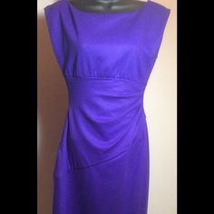 "NWT DVF Grape Jori Draped Sheath Dress Size 4 NWT $365 Diane von Furstenberg Grape Jori Draped Sheath Dress Size 4 A formfitting column design with graceful draping and an illuminating boatneck Boatneck dipped v-back Draped waist concealed side zipper fully lined About 34"" at chest and 38"" from shoulder to hem Best for a size 4. Brand new with tags and Diane hologram, this gorgeous dress is hard to find in this color a true purple. Gorgeous details. Fiber Content: 80% wool, 17% polyamide, 3%…"