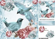 Pretty blue birds with sparkle roses and pink 8x8 on Craftsuprint - Add To Basket!