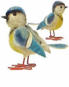 Mohair Steiff Birds - Maybe Blue Tits?