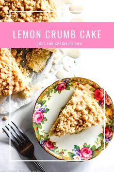 Looking for a delicious spring recipe?! This Lemon Crumb Cake has a delicious sweet, citriousy flavor that pair perfectly with the cake's tender crumb and sweet brown sugar topping. Not to mention the sweet lemon vanilla glaze that you'll drizzle on top! Perfect for weekend baking, brunches and special occassions! #lemondesserts #crumbcake #easyrecipe #springrecipe