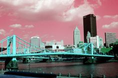Pittsburgh Bridge and Skyline in Blue and Pink  by sangrialemontea