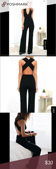 Lulus Thinking out loud backless jumpsuit XS Brand new, never been worn SOLD OUT jumpsuit. Medium-weight knit is formed to a sleeveless bodice, with V-neck, darting, and wide straps that cross over the open back. Lulu's Pants Jumpsuits & Rompers