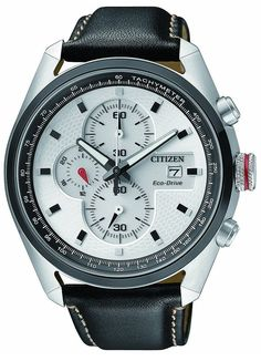 Citizen CA0361-04A Eco-Drive White Dial Stainless Chronograph Watch