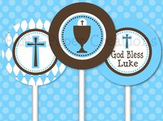 First Holy Communion Baptism Christening Tablescape Personalized Printable Party Decorations. $24.95, via Etsy.