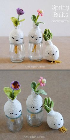 Crochet Pattern - Spring Bulbs | Amigurumi Flower Bulbs Pattern from HappyCoridon #ad #etsy #amigurumi #crochetpattern #spring #crochet Crochet Home, Love Crochet, Crochet Dolls, Knit Crochet, Crochet Cactus, Crochet Flowers, Yarn Crafts, Diy And Crafts, Crochet Decoration