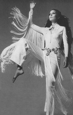 1968 Vogue Late 60s pants tunic white fringe model magazine print ad western space age