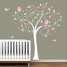 Children Vinyl Wall Decals Nursery Tree Decal with Flowers Birds Owl. $99.00, via Etsy.