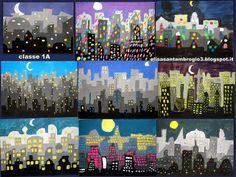 Le classi prime presentano un lavoro appena terminato sulle gradazioni tonali: hanno rappresentato il profilo di una metropoli disegnando ...